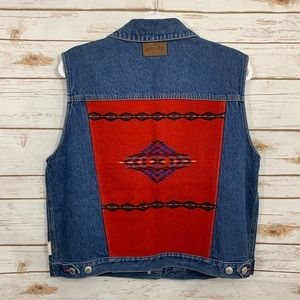 Pendleton Denim Navajo Aztec Blanket Panel Vest